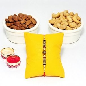 Healthy Rakhi Combo - Designer OM Rakhi with 100gm Cashews and 100gm Almonds and Greeting Card for Brother and Roli Chawal
