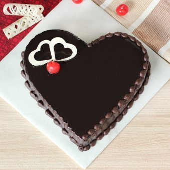 Choco Heart Cake - Top View