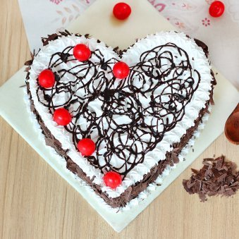 Black Forest Heart Cake - Top View