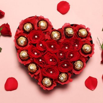 Heart Shaped Arrangement of Chocolates and Roses