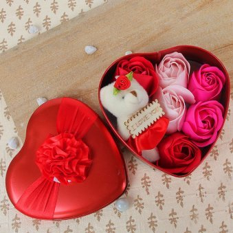 3 inches teddy and 6 paper soap roses in a heart shape tin