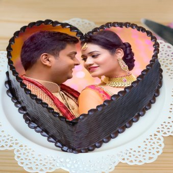 Heart Shaped Couples Cake - Zoom View