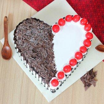 Cherry Black Forest Heart Cake