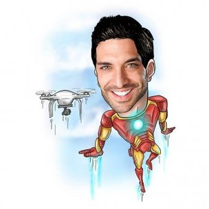 Iron Man Caricature For Super Hero Lover