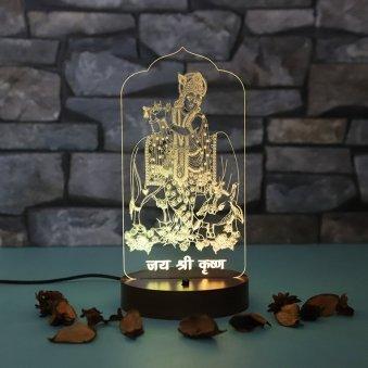 Jai Shri Krishna LED Lamp - LED Acrylic Multicolour Lamp with Top Glowing Part and Wooden Box Diameter
