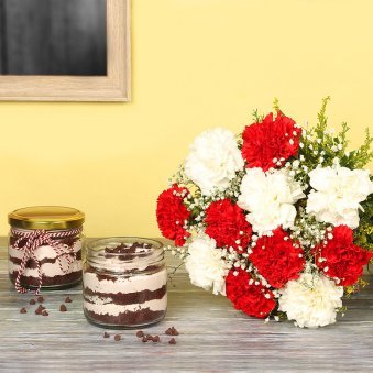 Jar Cake N Carnation Combo - Bunch of 12 Carnations with 2 Choco Chip Jar Cakes