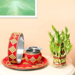 Bamboo Plant Karwa Chauth Combo