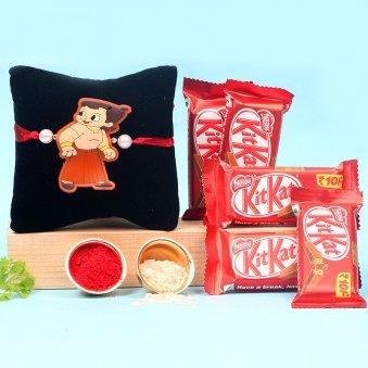 Chota Bheem Rakhi With Five Kitkat chocolates