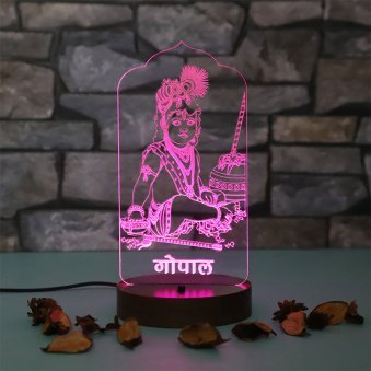 Laddu Gopal Glowing Multicolour Lamp - A Unique Gift for Grand Mother on her Birthday