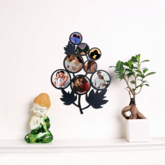 Leafy Personalised Wall Frame with Buddha Statue and Plant