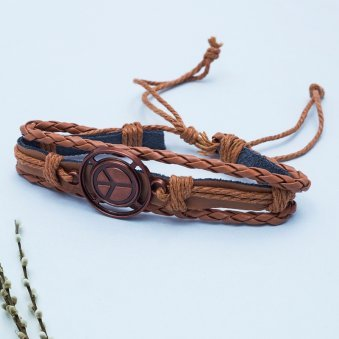 Leather Peace Unisex Bracelet