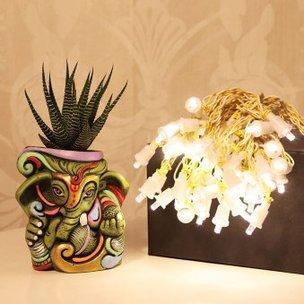 LED lights N Ganesha planter