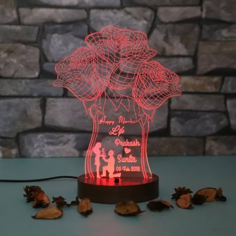 LED Acrylic Multicolour Lamp for Anniversary
