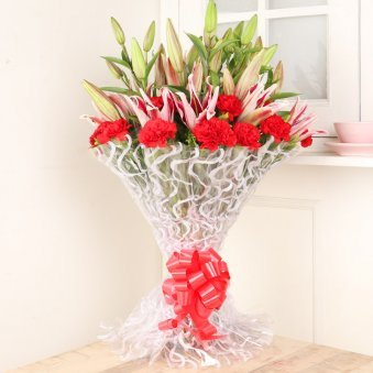 Lily Carnation Bouquet - Bouquet of 15 Pink Carnations and 6 Pink Lilies