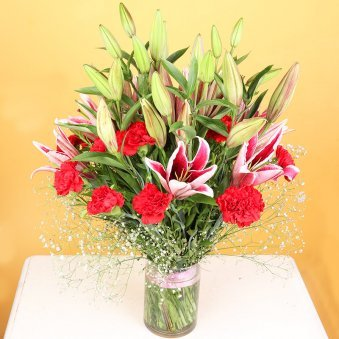 Lily N Carnation In Glass - Arrangement of 12 Pink Carnations and 6 Pink Lilies with Glass Vase