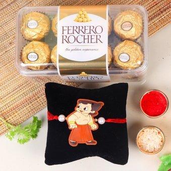 Little Bheem Rocher Combo - One Chota Bheem Rakhi with Roli and Chawal and Pack of 16 Ferrero Rochers
