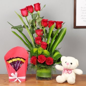 Roses Bouquet in Glass Vase with Teddy and Chocolates