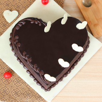 Chocolate Heart Cake with Choco Chips - Top View