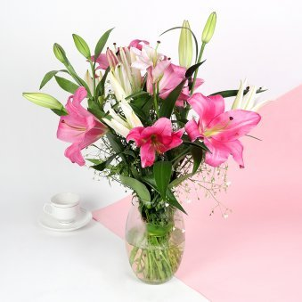 Lilies in Glass Vase