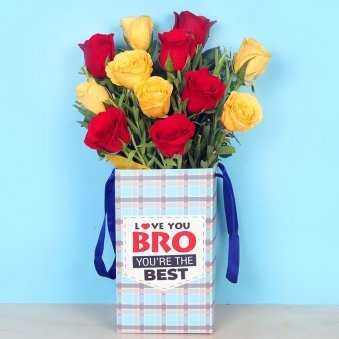 Rakhi With Flowers - Rudraksha Rakhi With Twelve Red N Yellow Roses