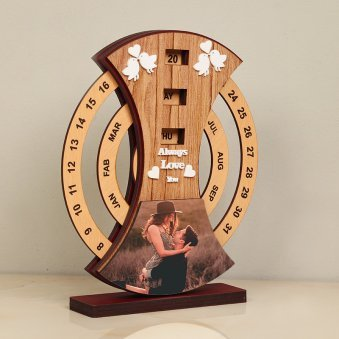 Side view of Lovebirds Anniversary Table Piece -Personalized Anniversary Gift