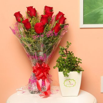 Luscious Joy - Succulent and Cactus Plants Outdoors in Floweraura Chatura Vase with Bunch of 10 Red Roses
