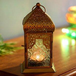 Magical Arabic Lantern - White Moroccan Mini Iron & Glass Lantern