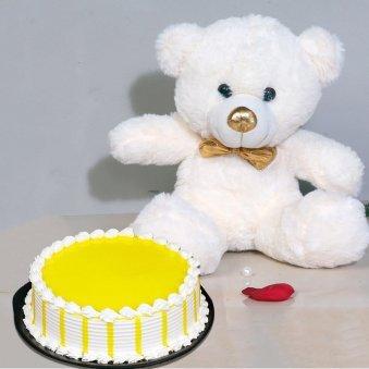 Mango Bear Hug - 12 Inch Teddy with 500 gm Butterscotch Cake