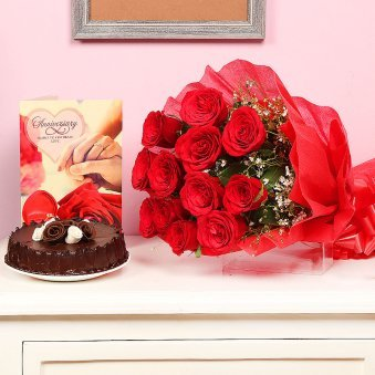 Roses with Cake and Greeting Card Anniversary Combo