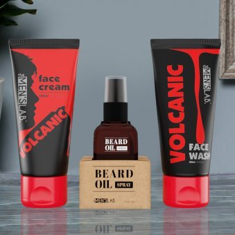 Men Face Care Combo - Volcanic Face Wash and Volcanic Face Cream with Beard Oil