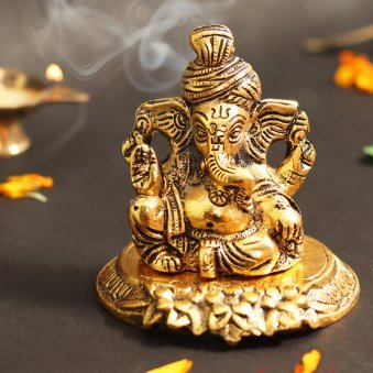 Gold Plated Ganesha - 3 X 2.5 X 4.5 Inches
