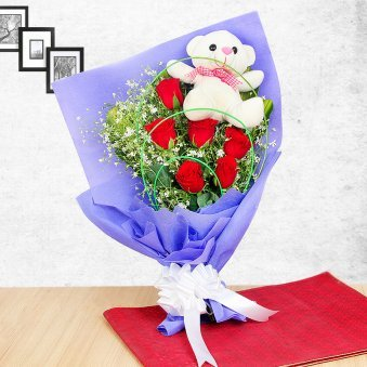 Cuddly Roses Bunch - A combo of 6 red roses and a 6 inches teddy