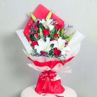 Miss Rosie N Lily Co - Bouquet of 13 Roses and Lilies in Red and White Paper Packing