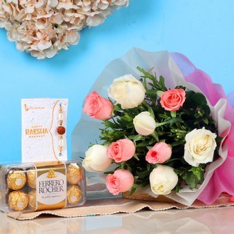 Mixed Roses N Rakhi Choco
