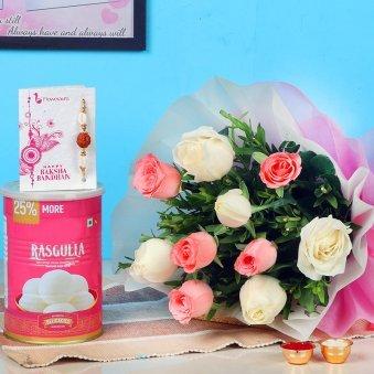 Mixed Roses N Rakhi Delight