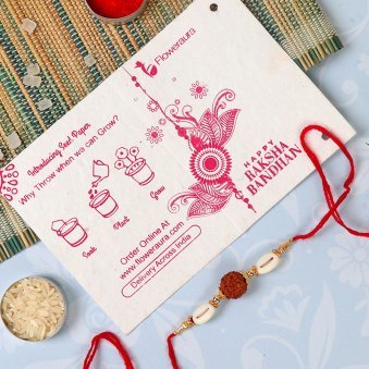 Rakhi Card in Rakhi With Flowers - Mixed Roses N Rudraksha