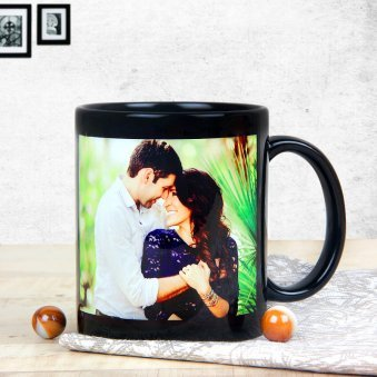 Personalised Black Coffee Love Mug with Front Sided View