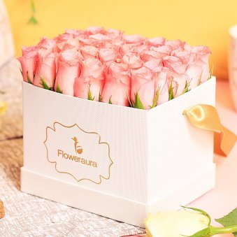 Pink Roses Arrangement in a White Box