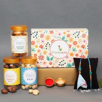 Nutty Lumba Rakhi Signature Box - Signature Box of Bhaiya Bhabhi Rakhi Set and Dry Fruits