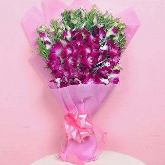 Rakhi With Six Orchids N Ferrero Rocher Box