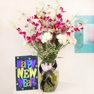Orchids N Carnation Bouquet with New Year Card