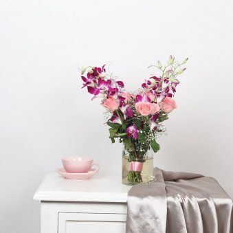 OrchidsandRoses Glass Vase
