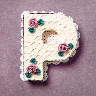Alphabet P Designer Cake
