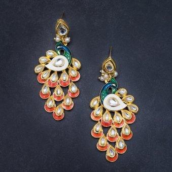 Peacock Design Drop Earrings