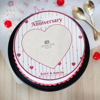 Marriage Anniversary Photo Cake - Top View