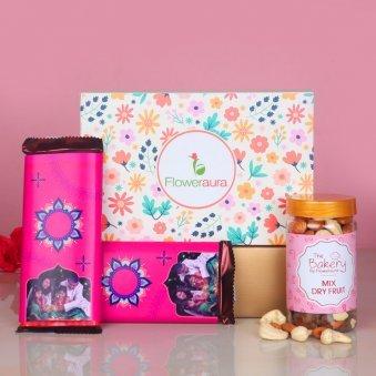 Mixed Dry Fruits with 2 Personalised Cadbury Temptation Chocolates with FlowerAura Signature Box