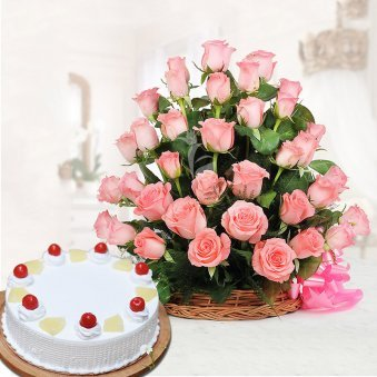 Pineapple Blush Combo - 30 Pink Roses in a Basket with 1 Kg Pineapple Cake