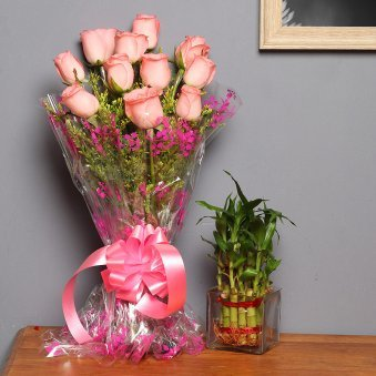 Pretty Rose Bamboo Combo - Good Luck Plant Indoors in Square Glass Vase with Bunch of 10 Pink Roses