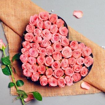 Heart Shape Arrangement of Pink Roses