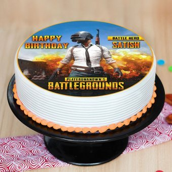 Top view of PUBG Poster Cake for Birthday